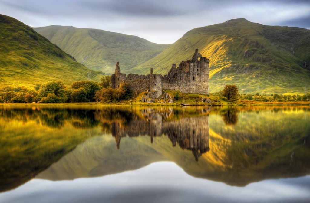 Kilchurn,Castle,Reflections,In,Loch,Awe,At,Sunset,,Scotland